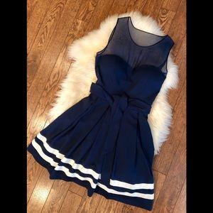 NWT GUESS Navy Silk Flare Dress